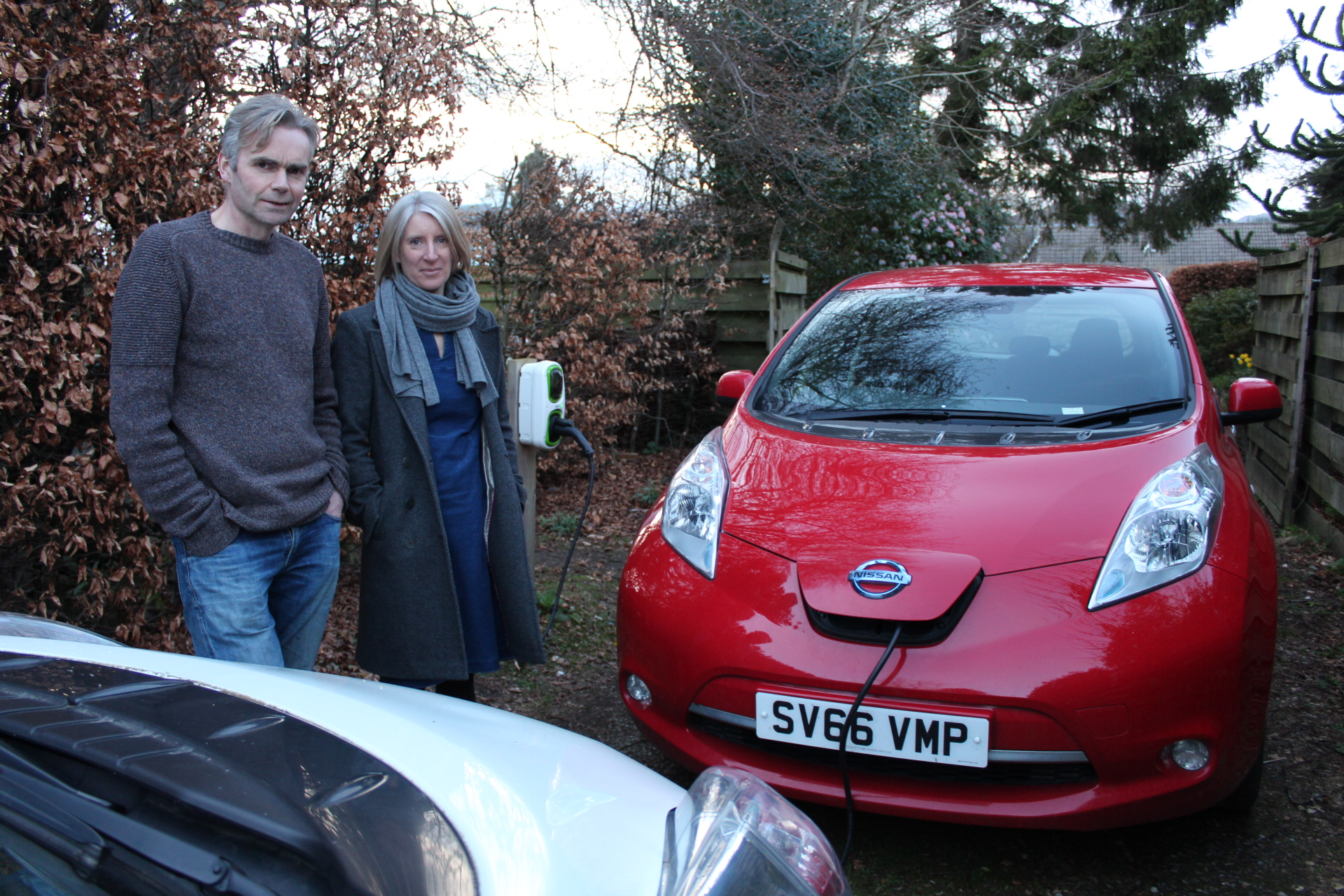 Alison Ritchie and John Paul Mason both own battery-powered Nissan Leafs