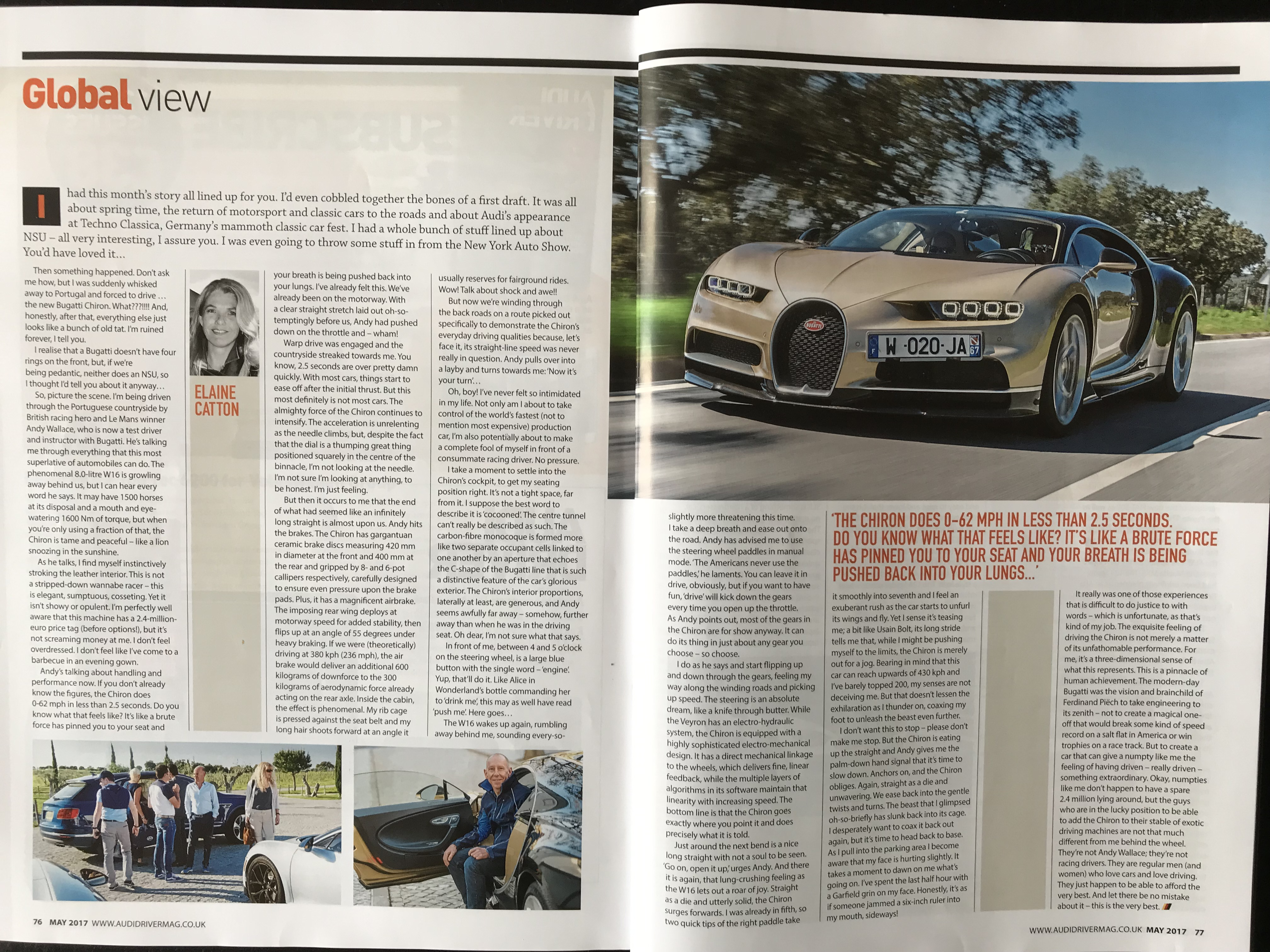 Driving the Bugatti Chiron. Article published in Audi Driver May 2017