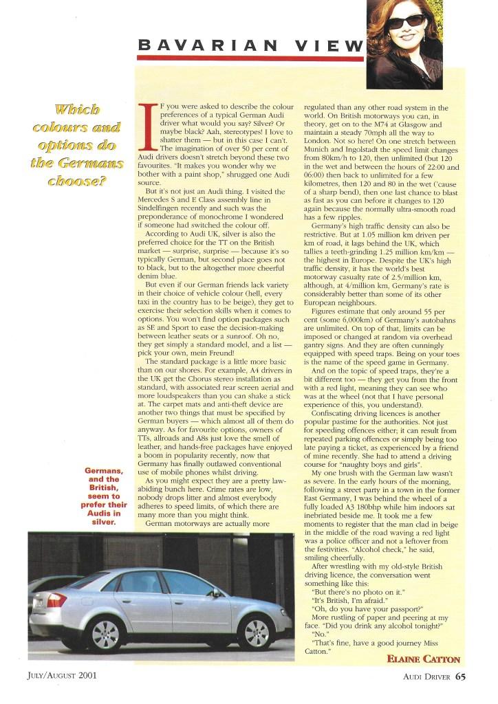 July 2001 - German automotive stereotypes