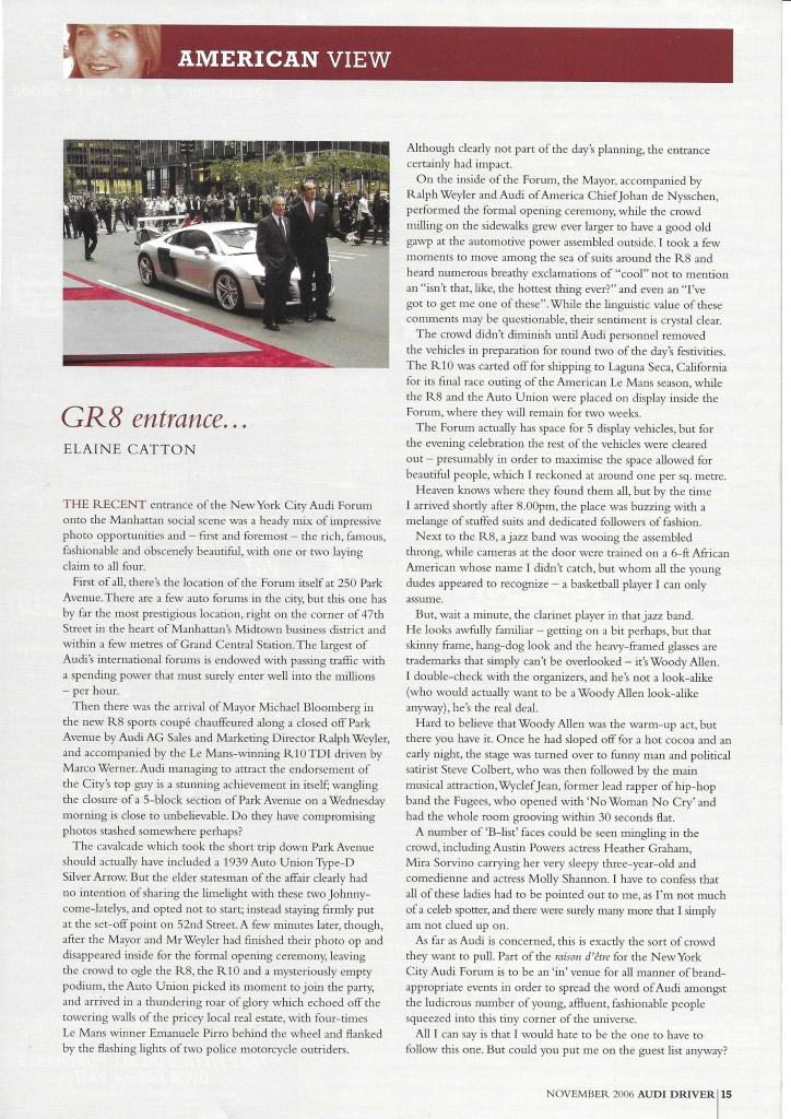 Nov 2006 - GR8 entrance at the Audi Forum Manhattan